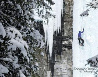 Ice climbing, winter sport, sport, winter, frozen, waterfall, ice, outdoors, nature, cards,  wall art, decor, gifts, wine box,  sports fan