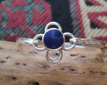 Taxco Azurite and Sterling Hook Bracelet