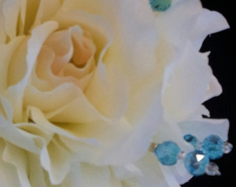 20 BOUQUET PICKS, DOUBLE Swarovski Crystals - Pick Your Color - 8 Inches Long, Bridal Bouquet Jewelry