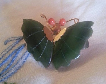 Vintage Swobad Jade Butterfly Brooch with Carnelian Eyes
