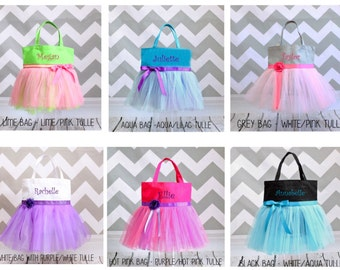 """Tutu Bag, Dance bag, Girl's Personalized Tote Bag in 6 canvas colors in 13.5""""x13.5"""" - Great Size"""