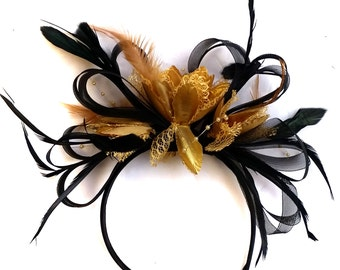 Black and Gold Loop Net Fascinator on Headband Alice Band Wedding Ascot Races