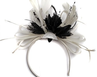 White and Black Fascinator on Headband Alice Band Wedding Ascot Races Loop Net