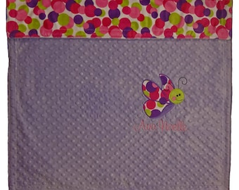 Personalized Baby Blanket-Butterfly Baby Blanket-Purple minky blanket