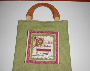 Bible tote bag, Bible Verse pocket on side. Wood handles, magnet closure
