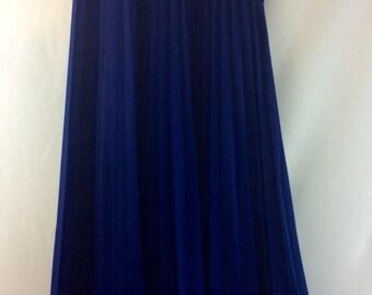Navy Blue Pleated Maxi Skirt