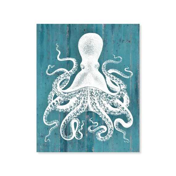 Wooden Octopus Wall Decor : Items similar to octopus art print faux wood look rustic