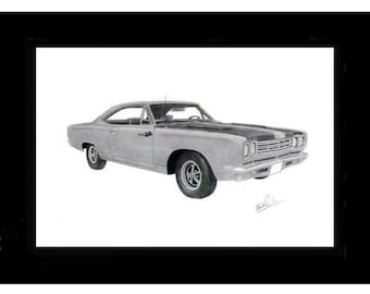 Car art drawing of a 1969 Plymouth Road Runner