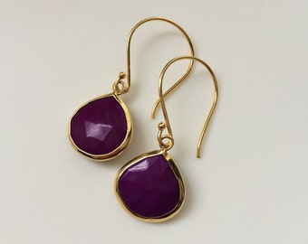 Purple Turquoise Earrings, Purple Turquoise Gold Teardrop Earrings