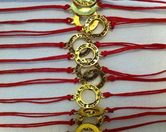 "Jewish Kabbalah Lot of 12 RED String Gold tone ""Shema Israel"" Bracelet"