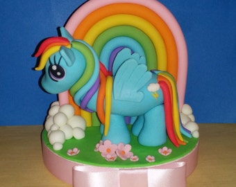Rainbow Dash (My little pony) fondant cake set
