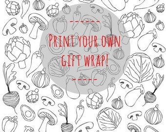 Printable Gift Wrapping Paper - A4 format - Vegetables Black White Presents Self Wrapping Paper Digital download