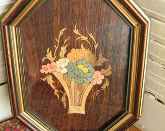 Vintage Italian Italy Sorrento Inlay Basket of Flowers Picture Florentine Titled MAYFLOWER