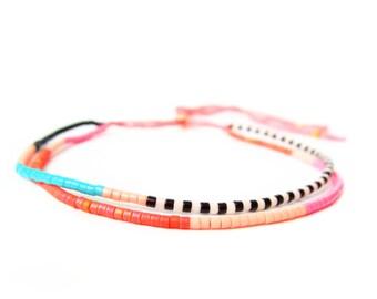 Pink Beaded Friendship Bracelet - Adjustable Bracelet - Pink Ombre - Pink Cord Bracelet - Stackable Bracelet - Double Strand Bracelet