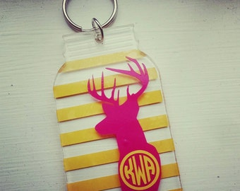 Sale! Mason Jar shaped Deer Monogram keychain. Southern. Gift. Hunting. Key chain. Country.