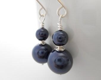 Navy Blue Pearl Beaded Drop Earrings, Navy Blue Swarovski Crystal Pearl Earrings, Navy Wedding, Bridal Jewelry, Dangle Earrings