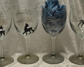 Hand Painted, Elegant Reindeer wine glasses, set of 4