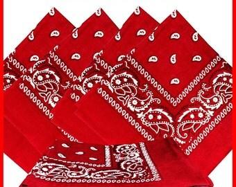 """22"""" x 22"""" Bandana - Red Paisley (x12)"""