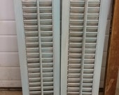 Set of 2 Wood Shutters - Brown and Teal over white distressed