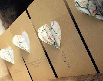 Paper Map Heart card. Anniversary. Wedding. Engagement. Love. Adventure. Jourey Card. Birthday card. A6 Brown craft card. blank inside.