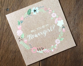 Will you be my flower girl folded floral wreath cards
