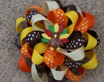 Thanksgiving Hair Bow, Thanksgiving Hairbow, Fall Hairbow, Fall Hair Bow, Turkey Hair Bow, Thanksgiving Hair Clip