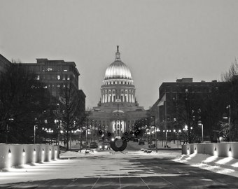 Poster - The Snowy Capital at Dusk, Madison, WI -  Black and White Photography Print of the beautiful Capital building - 16 x 20