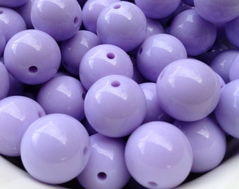 20mm Pastel Light Purple Chunky Necklace Beads