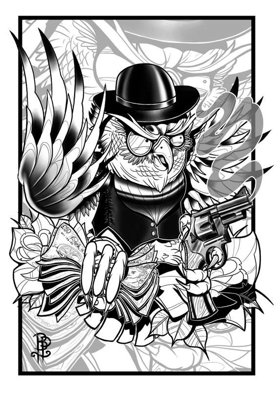 Articles similaires dition de hibou de gangster old school noir et blanc tattoo flash print - Dessin new school ...