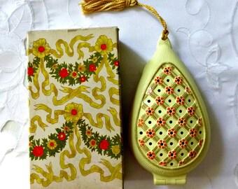 70's AVON Potpourri Pomander Vintage in Original Box, Yellow Floral Closet Drawer Fragrance Pomander Case Refillable Diffuser