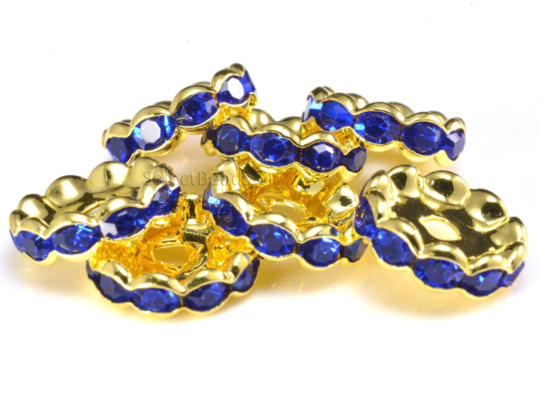 royal blue rhinestone spacers rondelle crystal beads. Black Bedroom Furniture Sets. Home Design Ideas