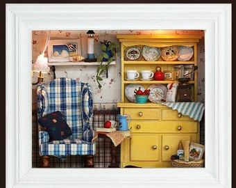 Miniature Dollhouse  DIY Kit  Summer Afternoon with Light Cute Room House