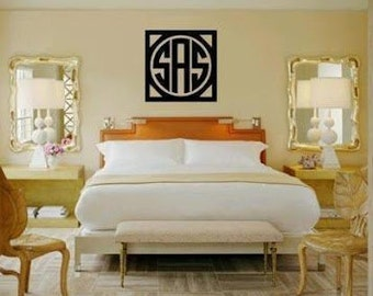 EXTRA LARGE Wooden Monogram Wall Decor -Circle Monogram Font-Wood Monogram- Wedding Monogram- Nursery Decor- Home Decor - Wooden Art Sign
