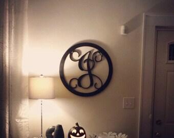 """Monogram Initial - Wooden Letters w/Border - Wall Hanging Letters - Door Hanger 26"""""""