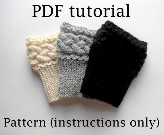 Boot Topper Knitting Pattern : PDF Knit PATTERN Braided Boot Cuffs Cable Knit by AimarroPatterns