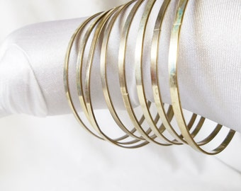 Silver Gold Tone Thin Metal Bracelets Vintage Jewelry