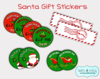 North pole mail tags etsy from santa gift tags north pole postmark stickers elf inspected print your negle Choice Image