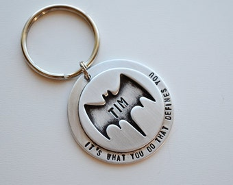 Batman Keychain - Superhero Key Chain - Gifts for Him - Personalized Keychain Husband - Gifts for Son Brother Best Friend by PinkLemonDesign