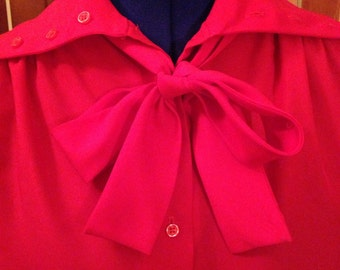 Nice Red Seventies Soft Polyester Blouse with Tie