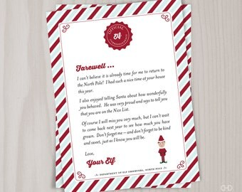 INSTANT DOWNLOAD Elf Goodbye Letter, Christmas Elf Farewell Letter, Printable Note