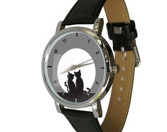 Cats and Moon design wristwatch - Black and White image - Sunset - Cat Lovers - Cat Gift - Cool Cat Watch