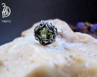 "кольцо с перидотом ""Green star"" silver"