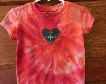 Pink and orange Toddler top tie dye XXS denim heart detail