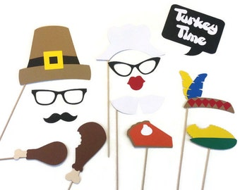 Photo Booth Props-13 Piece Thanksgiving Photo Booth Prop Set