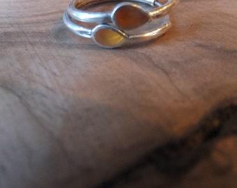 Sterling Silver Hoop Earrings with Carnelian