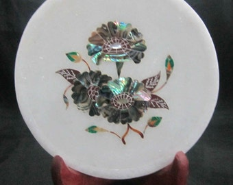 wall plates pietra dura marble inlay plate home decorative collectible art piece inlaid with abalone shell