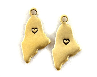2x Brass Maine State Charms w/ Hearts - M073/H-ME