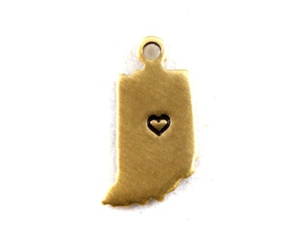 2x Brass Indiana State Charms w/ Hearts - M073/H-IN