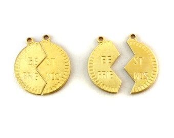 4x Brass Best Friend Charms - M087