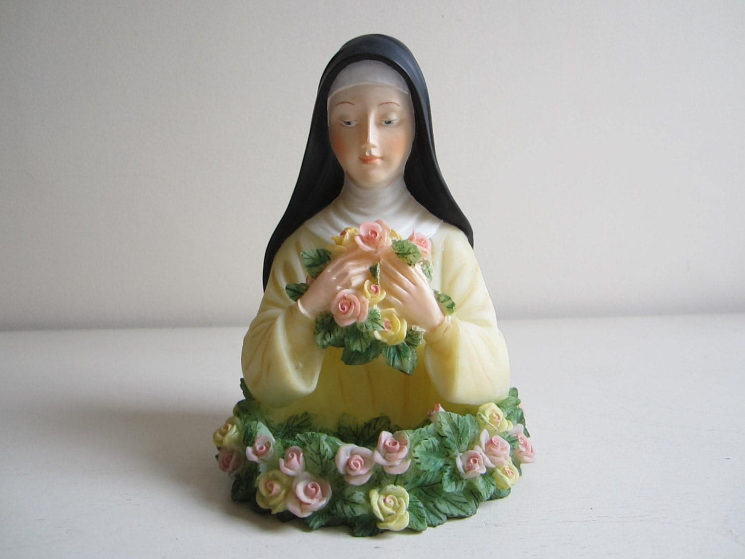 St Therese Little Flower Holy Water Font by LilysKeepsakes